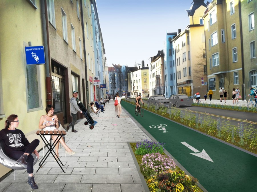 Herzog-Heinrich-Straße_breiter Gehweg grünefleche
